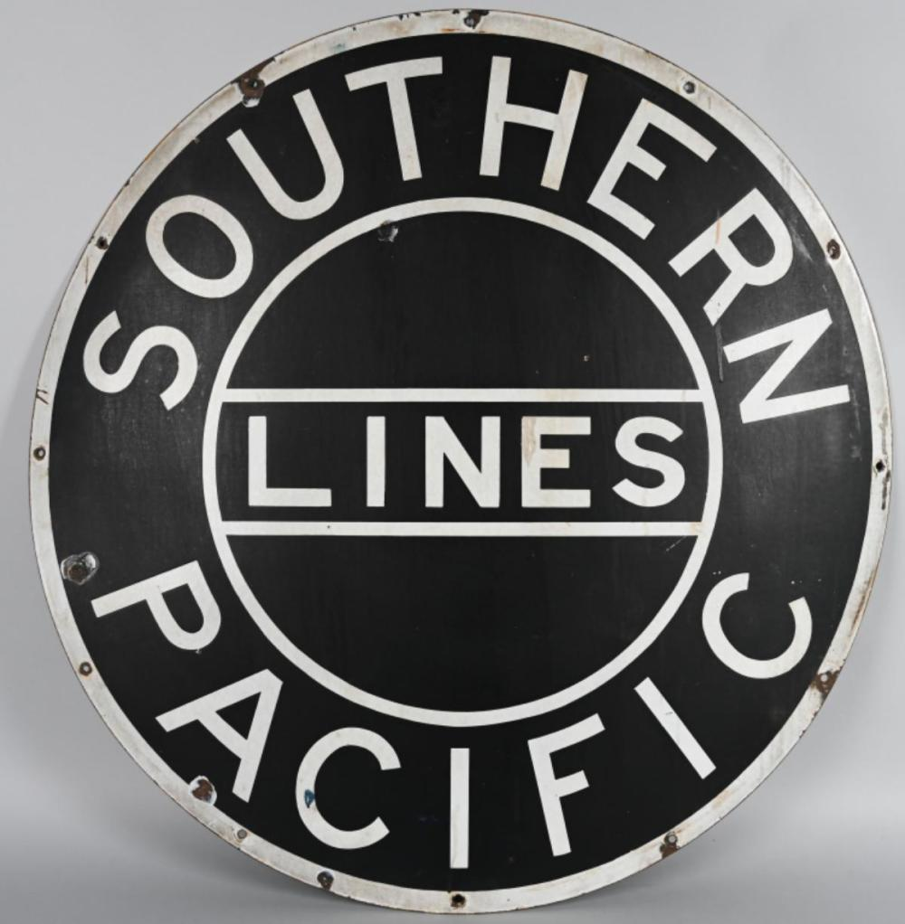 Southern Pacific Lines RR Porcelain Car Sign