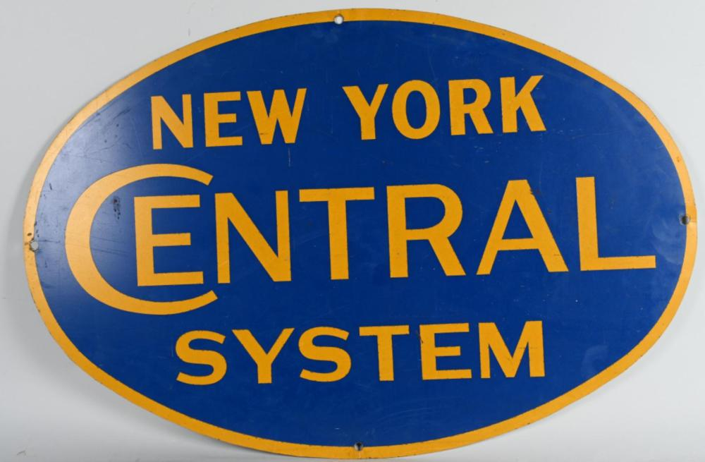 New York Central System Railroad Metal Car Sign