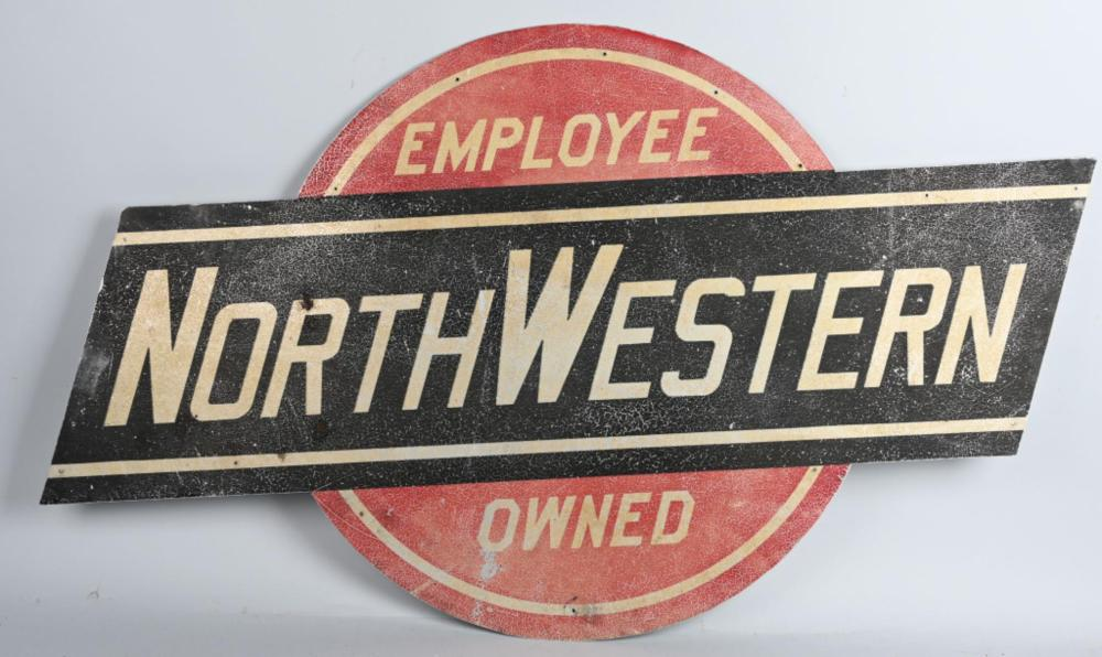 Employee Owned Northwestern (RR) Metal Car Sign