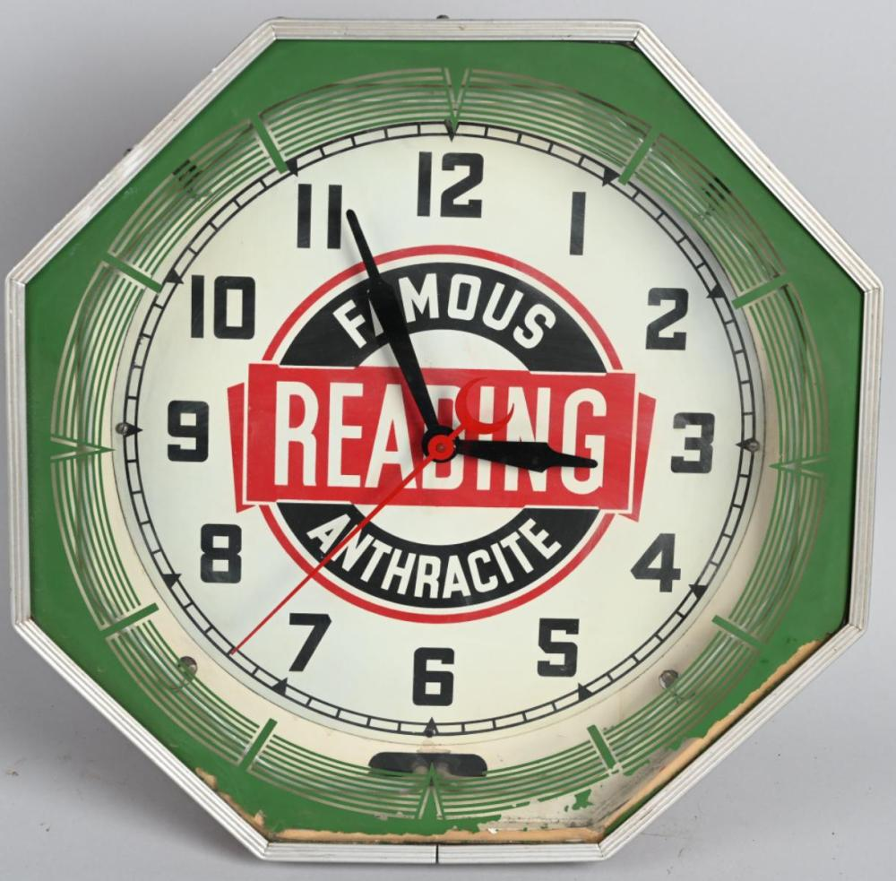 Reading Famous Anthracit (coal) Octagon Neon Clock