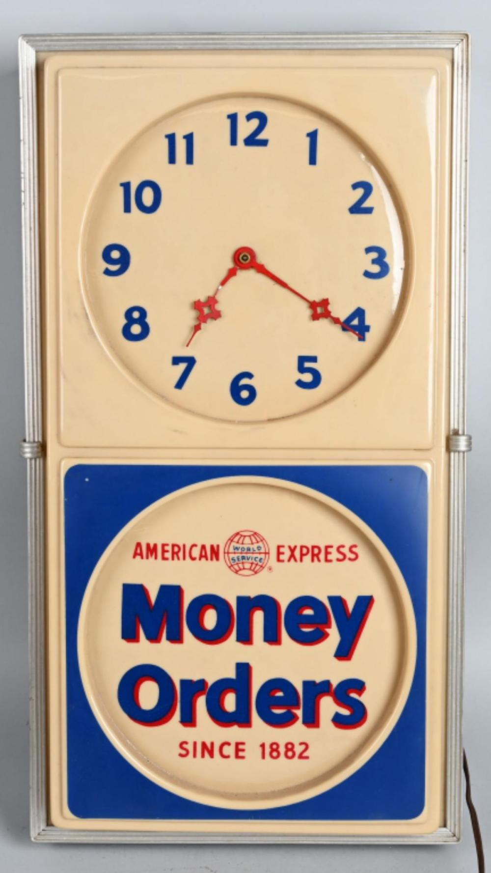 American Express Money Orders Lighted Clock