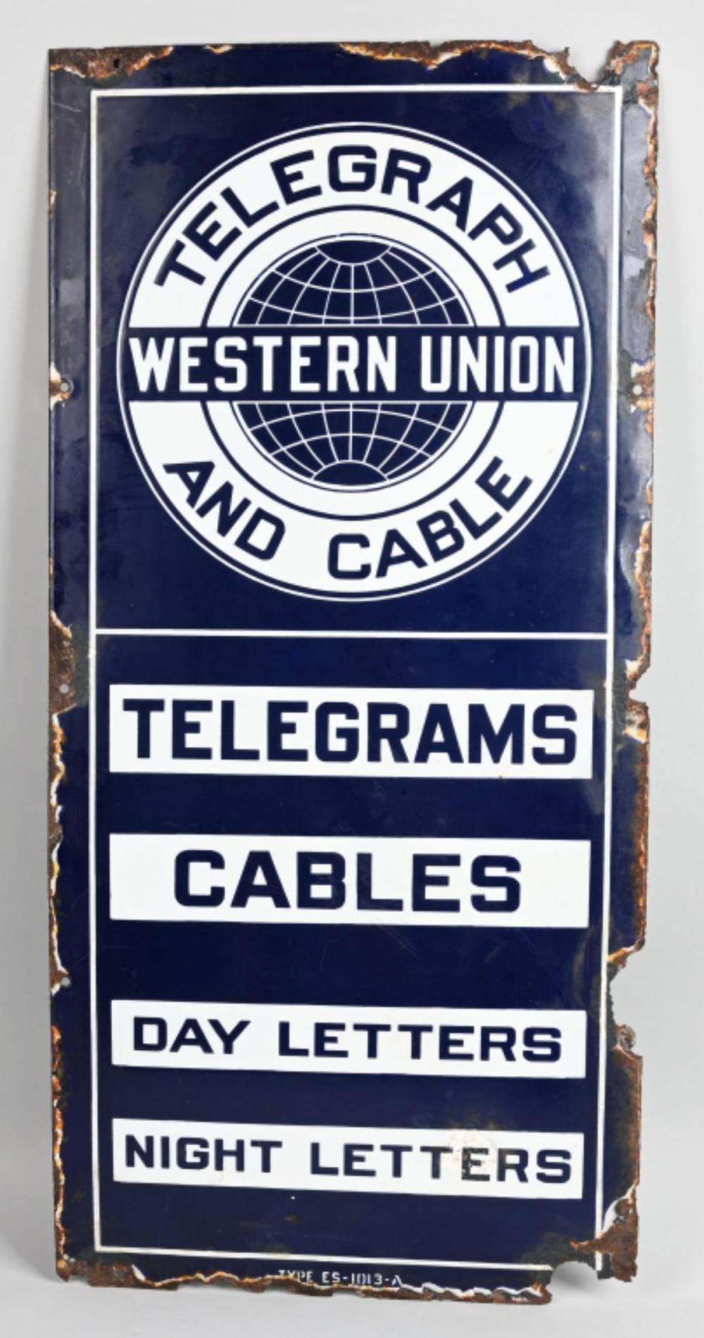 Western Union Telegrams Cable Porcelain Sign