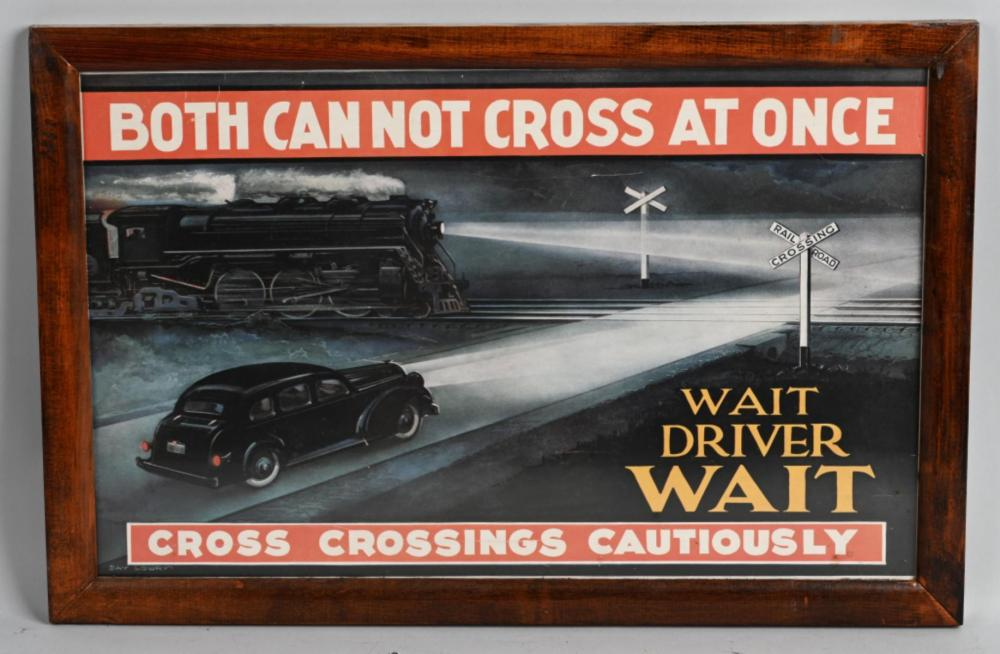 "Circa 1930 ""Both Can Not Cross at Once"" Poster"