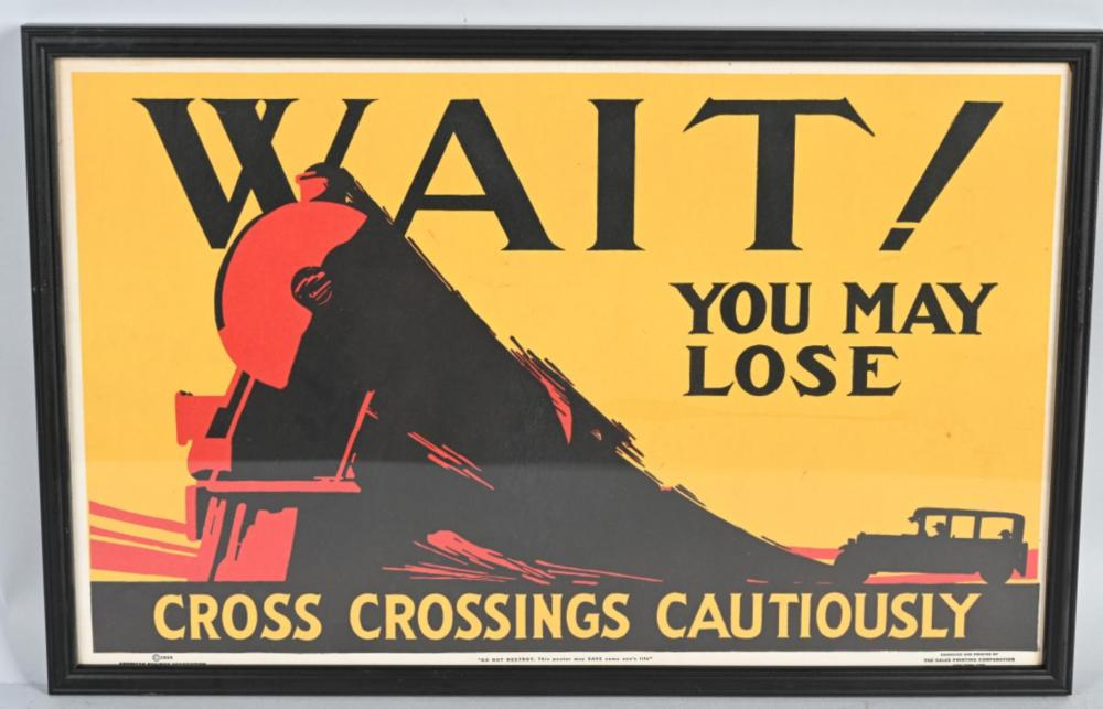 "1924 Cross Crossing Cautiously ""Wait"" poster"
