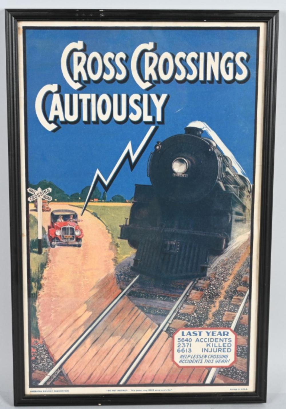 1928 Cross Crossing Cautiously Poster
