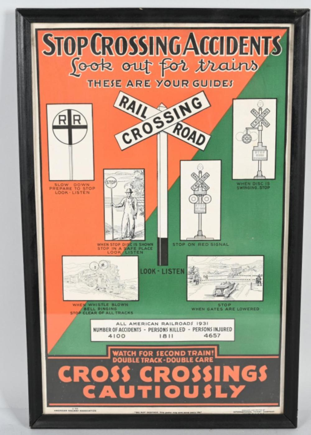 1932 Cross Crossing Cautiously Poster