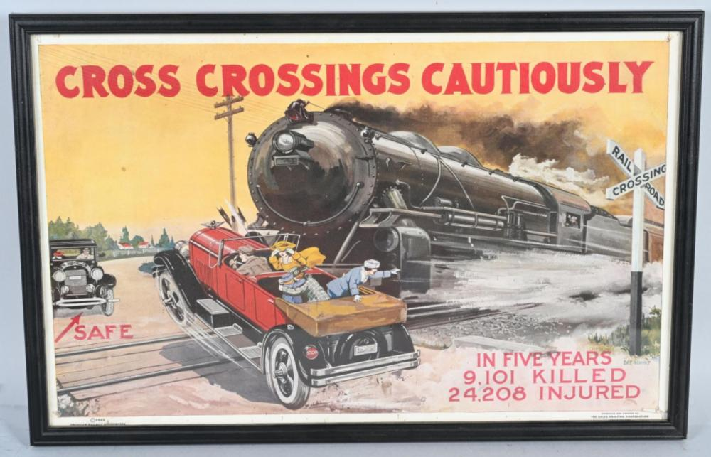 1923 Cross Crossing Cautiously Poster