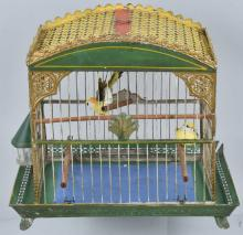 STEVENS & BROWN TIN PAINTED BIRD CAGE