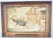 JOS STOECKLE BREWING TIN SIGN w/ EARLY AUTOMOBILE