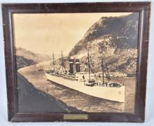 PANAMA PACIFIC LINER FRAMED ADVERTISING PICTURE