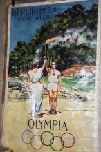 1936 GERMANY OLYMPICS PAINTED CANVAS BANNER