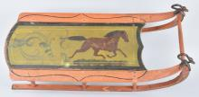 EARLY WOOD CHILDS SLED WITH HORSE STENCIL