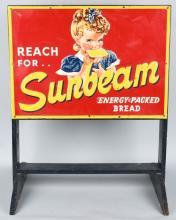 SUNBEAM BREAD TIN SIGN BROOM RACK