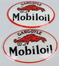 2- MOBILOIL GARGOYLE GAS PUMP GLOBE LENSES