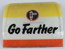 GO FARTHER GLASS GAS PUMP SIGN