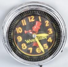 WURLITZER ADVERTISING LIGHT UP MOTION CLOCK