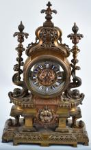 ORNATE FRENCH BRONZE MANTEL CLOCK