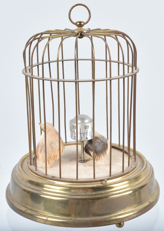 GERMAN KAISER MECHANICAL BIRDS in CAGE CLOCK