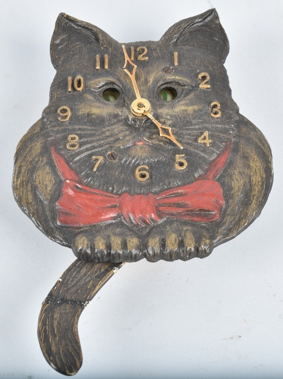 KEEBLER ANIMATED CAT CLOCK, VINTAGE