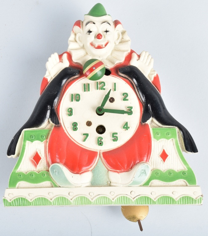 LUX CLOWN and SEALS NOVELTY CLOCK