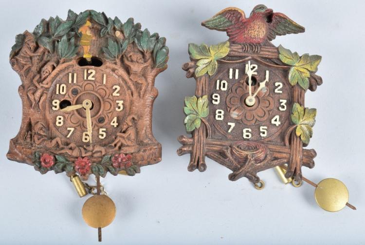 2- MINIATURE CUCKOO CLOCKS, KEEBLER