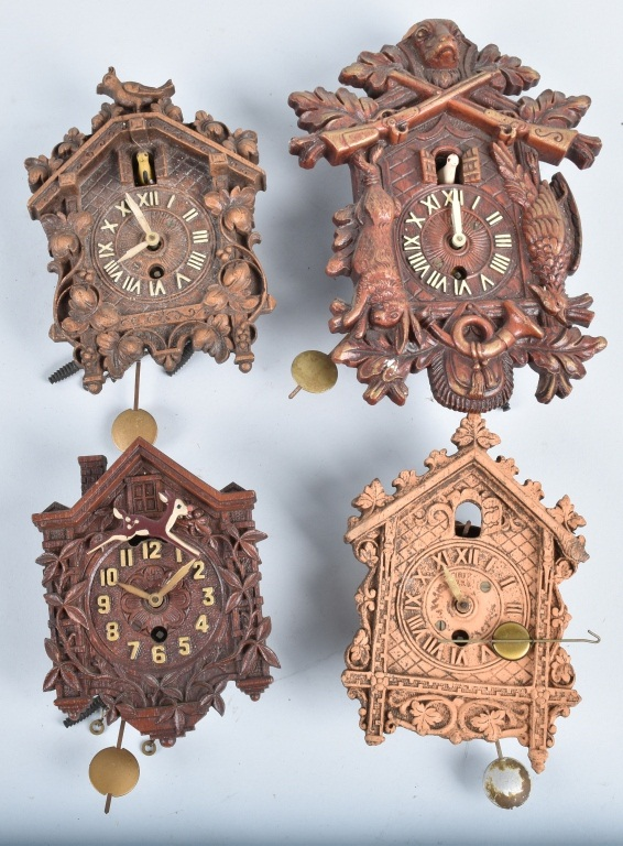 4-MINIATURE CUCKOO CLOCKS, LUX and KEEBLER
