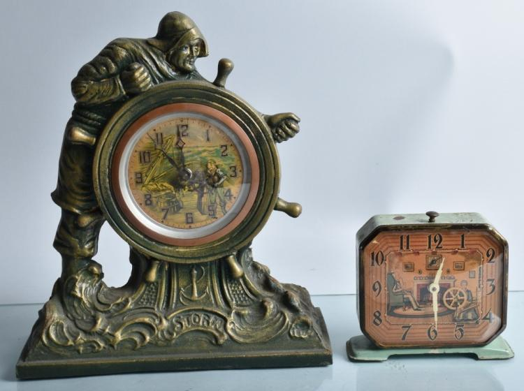 2- ANIMATED CLOCKS, SAILOR & SPINNING WHEEL