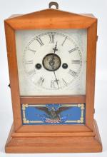 SMALL SHELF CLOCK with PATRIOTIC GLASS PANEL