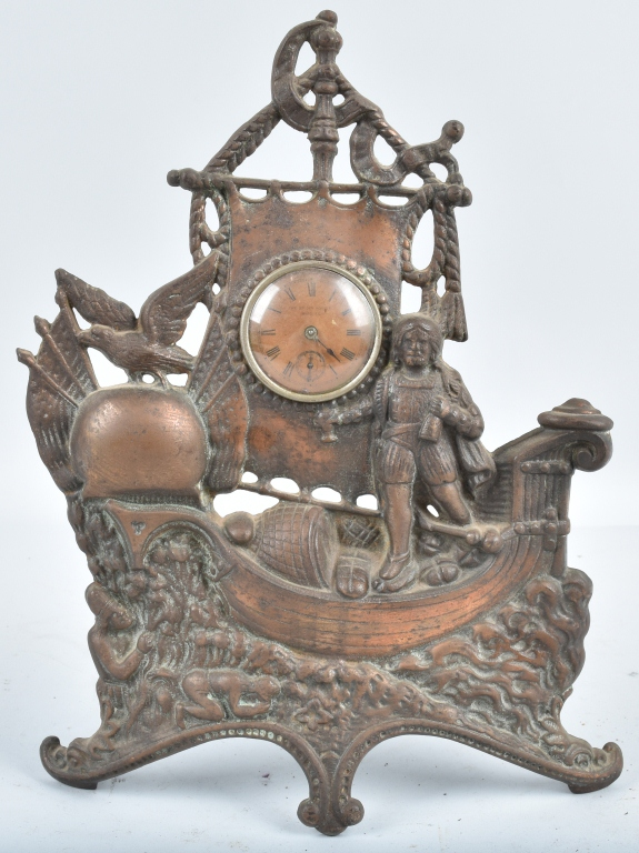 COLUMBUS CAST IRON FIGURAL CLOCK