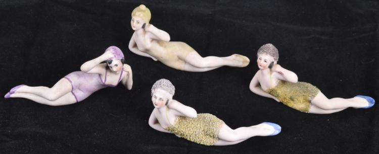 4-GERMAN BISQUE MINIATURE BATHING BEAUTYS