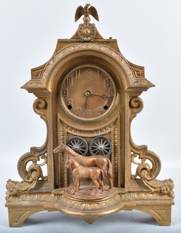 CAST METAL CLOCK, with HORSES