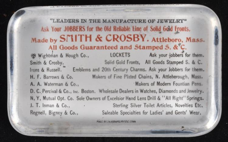 ADVERTISING PAPERWEIGHT SMITH & CROSBY JEWELRY