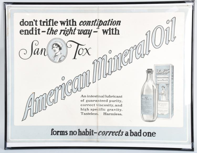 EARLY LAN-TOX MINERAL OIL ADVERTISING SIGN