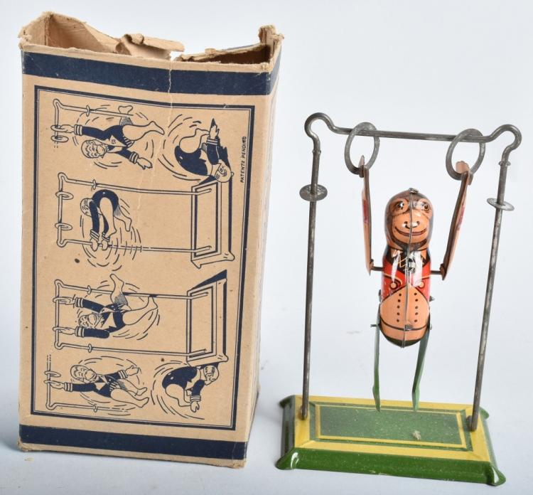 MARX TIN WINDUP MONKEY TRAPEZE, BOXED