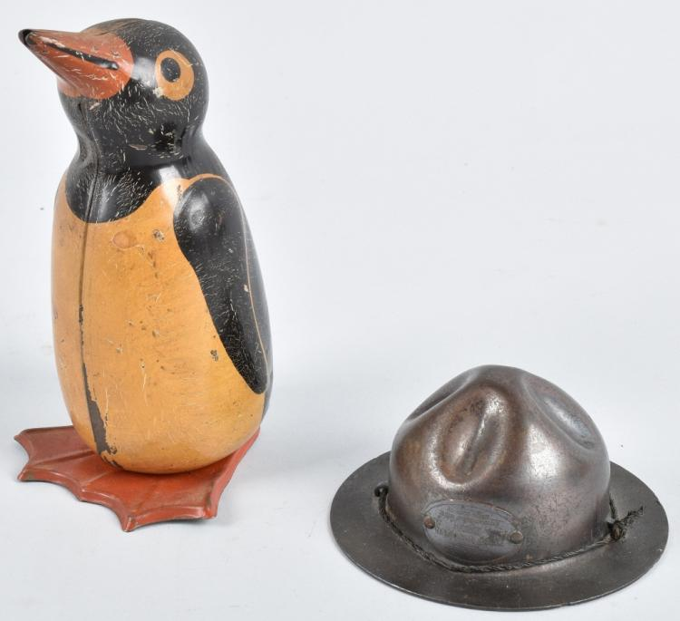 2-FIGURAL METAL BANKS, BOY SCOUT HAT & PENGUIN
