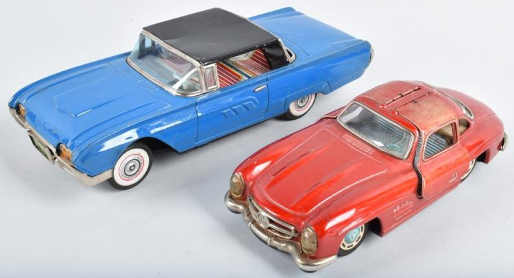 2-JAPAN TIN CARS, MERCEDES GULL WING & T-BIRD