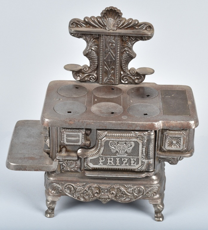 STEVENS NICKEL PLATED CAST IRON PRIZE TOY STOVE