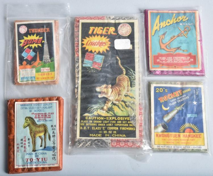 5-VINTAGE PACKAGES OF FIRECRACKERS