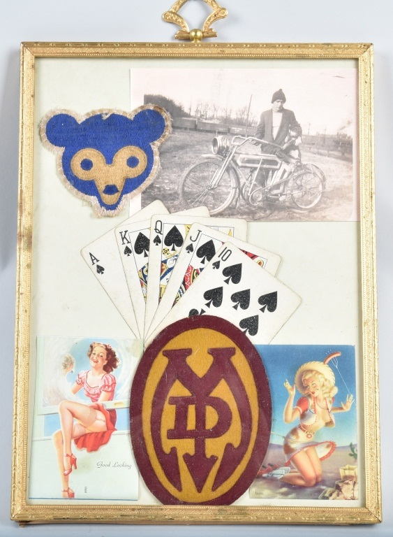 EARLY MOTORCYCLE FRAMED MEMORABILIA