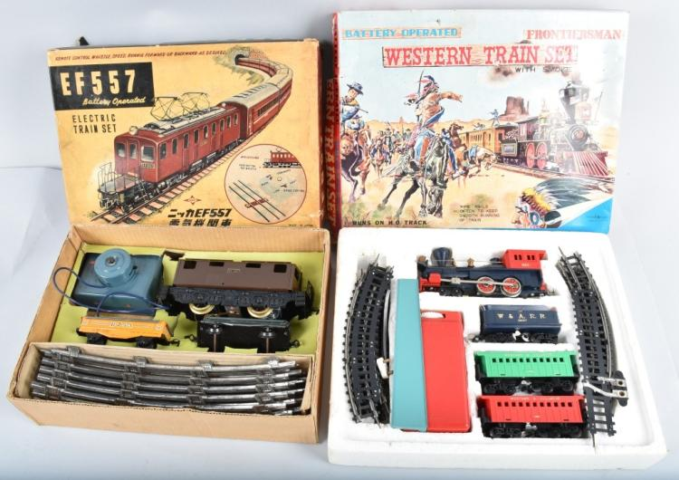 2-JAPAN BATTERY OPERATED TRAIN SETS, BOXED