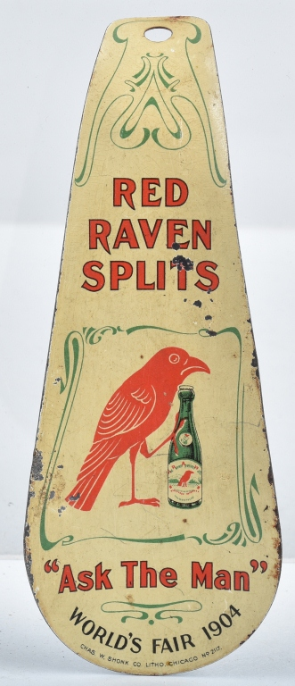 1904 WORLD'S FAIR RED RAVEN SPLITS SHOE HORN