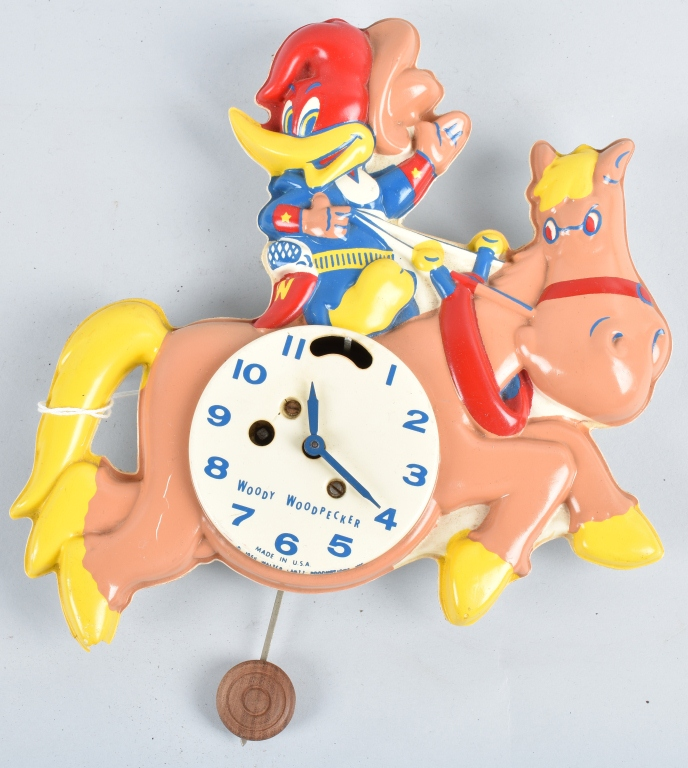 1959 WOODY WOODPECKER CHARACTER CLOCK