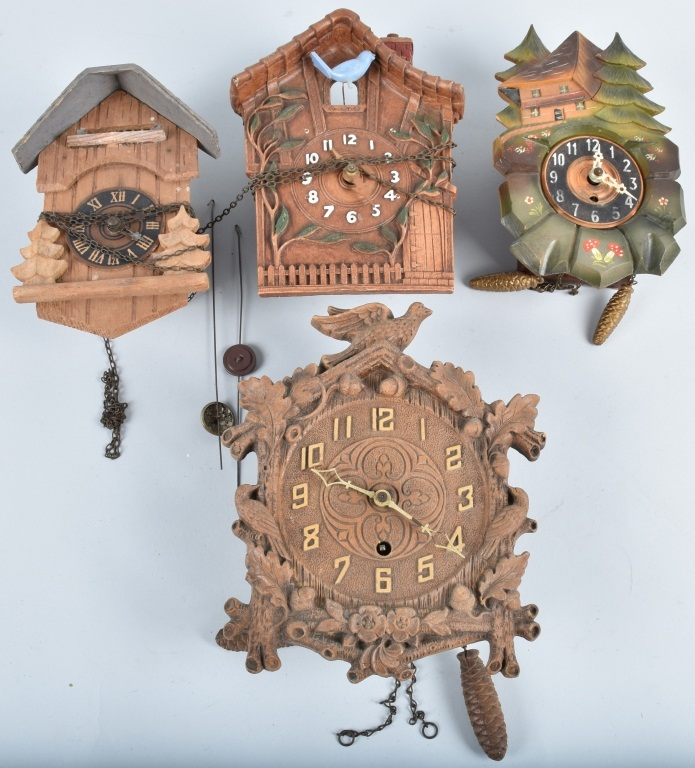 4-GERMAN MINIATURE NOVELTY CLOCKS, VINTAGE