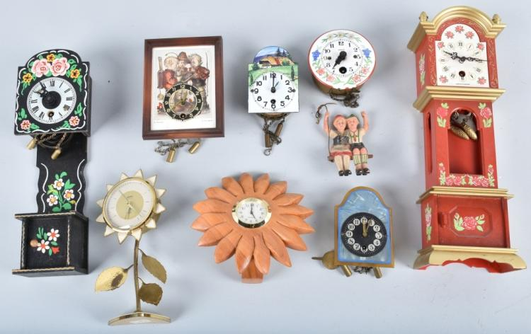 8- MINIATURE CLOCKS, GERMAN and MORE