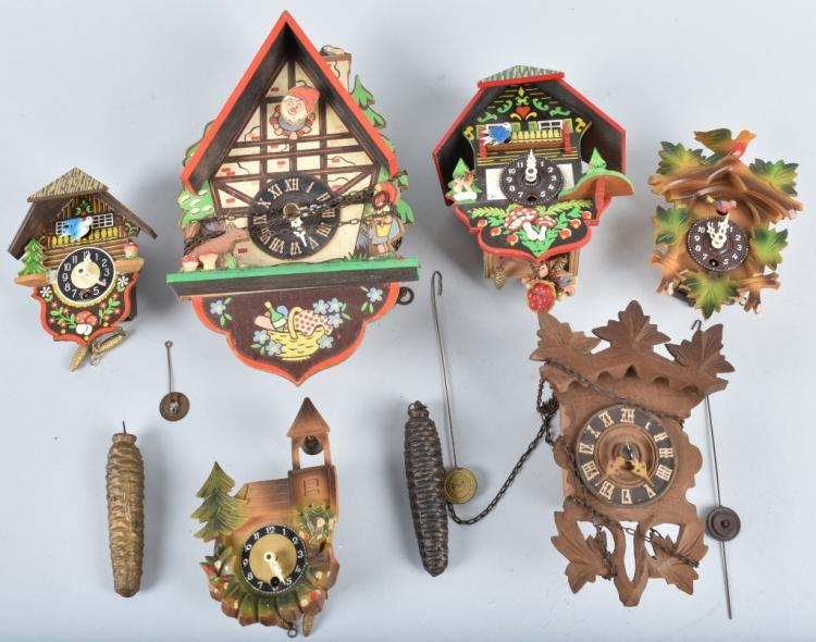 6-GERMAN MINIATURE NOVELTY CLOCKS