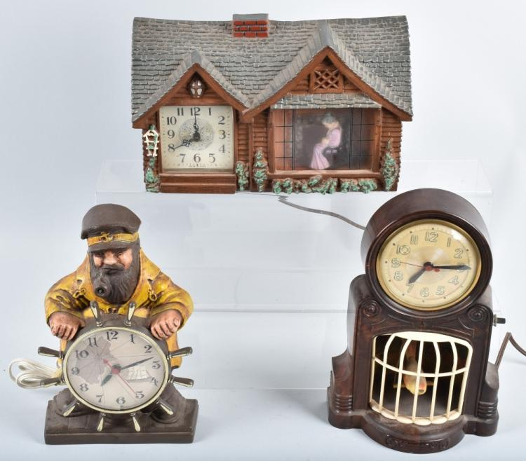 3-NOVELTY CLOCKS, VINTAGE