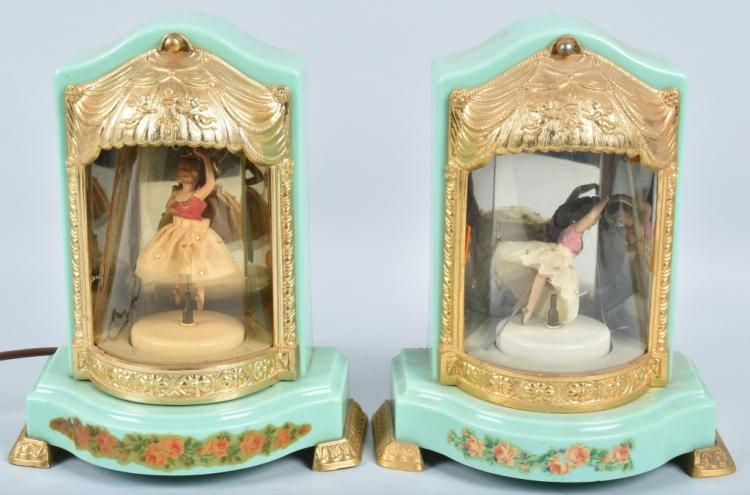 2-ANIMATED MUSIC BOX LAMPS, VINTAGE