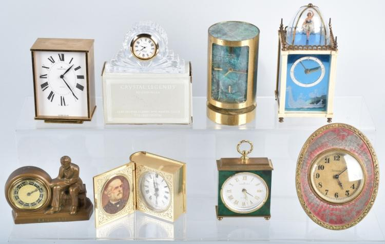 8-MINIATURE CLOCKS, LINCOLN, MUSIC BOX & MORE