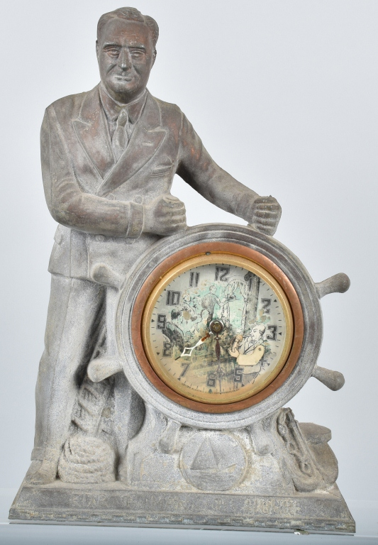 1940 FDR MAN OF THE HOUR SHELF CLOCK
