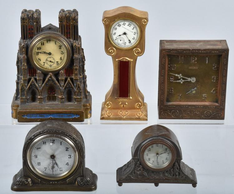 5-CAST METAL CLOCKS, VINTAGE